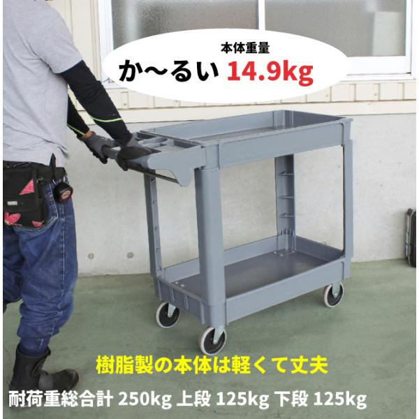 ツールワゴン 台車 250kg 2段 軽量 静音 樹脂製 プラパレ ツールカート|kikaiya|05