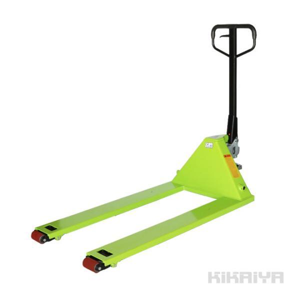 KIKAIYA 両面パレット用ハンドリフト 2000kg(緑) 両面パレット対応機 フォーク長さ1195mm フォーク全幅685mm 高さ65mm(法人様のみ配送可)|kikaiya
