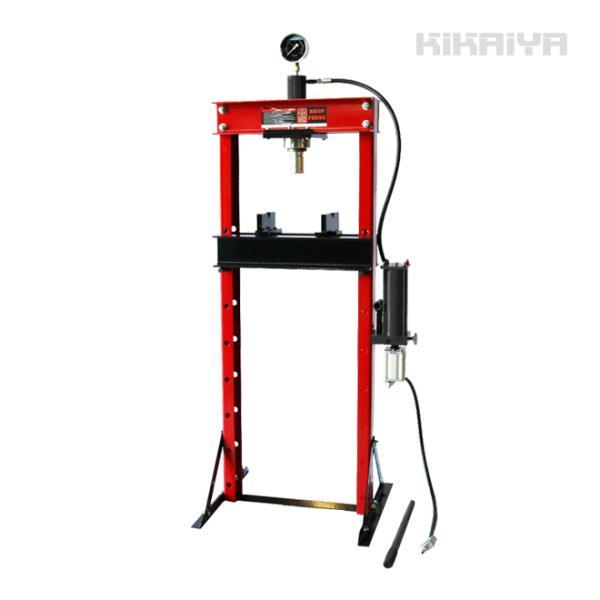 KIKAIYA エアー式油圧プレス20トン(エアー手動兼用) メーター付 門型プレス機 6ヶ月保証(法人様のみ配送可)|kikaiya