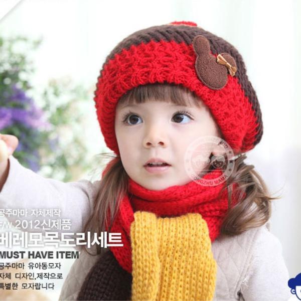 【再入荷】ニット帽子・マフラーセット 韓国製 かわいい熊ちゃん付き 女の子最適 kikkousisyoppu