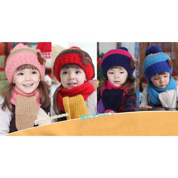 【再入荷】ニット帽子・マフラーセット 韓国製 かわいい熊ちゃん付き 女の子最適 kikkousisyoppu 02