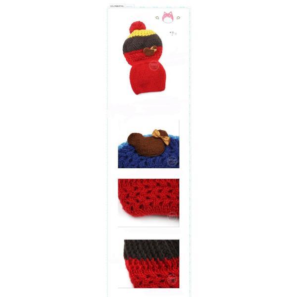 【再入荷】ニット帽子・マフラーセット 韓国製 かわいい熊ちゃん付き 女の子最適 kikkousisyoppu 04