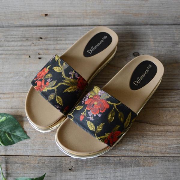 サンダル レディース ローヒール 履きやすい 疲れにくい ぺたんこ フラット かわいい 歩きやすい 痛くない 花柄 フラット スリッパ つっかけ 夏 靴