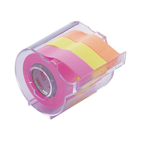 ヤマト メモックロールテープ 蛍光カラー カッター付 15mm ローズ/レモン/オレンジ RK-15CH-C ロール付箋 ロールふせん 全面粘着