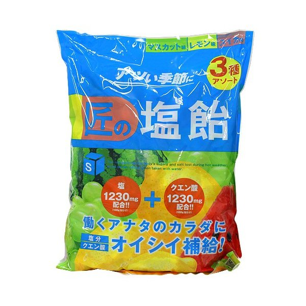 『売切れ御免』サラヤ Gains 匠の塩飴 マスカット・レモン・スイカ味 2kg
