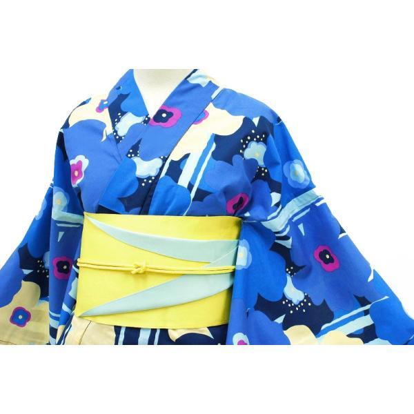 浴衣 レディース フリーサイズ 単品 新作 水色 マリメッコ風 花柄 縞 綿100% 夏祭り 花火大会 レトロ 古典 Mサイズ Lサイズ yu135-b|kimono-chidori|02