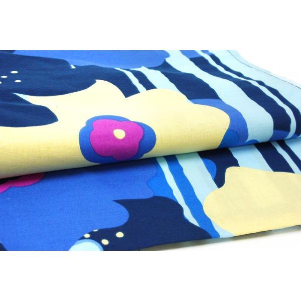 浴衣 レディース フリーサイズ 単品 新作 水色 マリメッコ風 花柄 縞 綿100% 夏祭り 花火大会 レトロ 古典 Mサイズ Lサイズ yu135-b|kimono-chidori|06