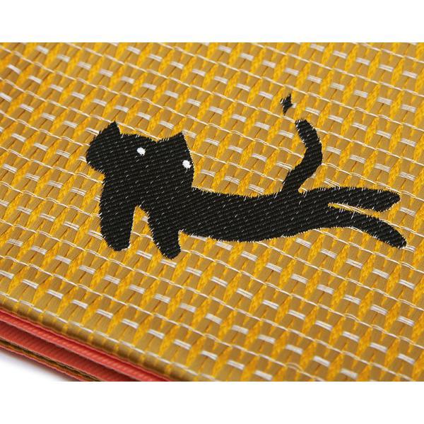 半幅帯 ツモリチサト 猫 ターコイズ マスタード 青 黄色 カジュアル リバーシブル ねこ