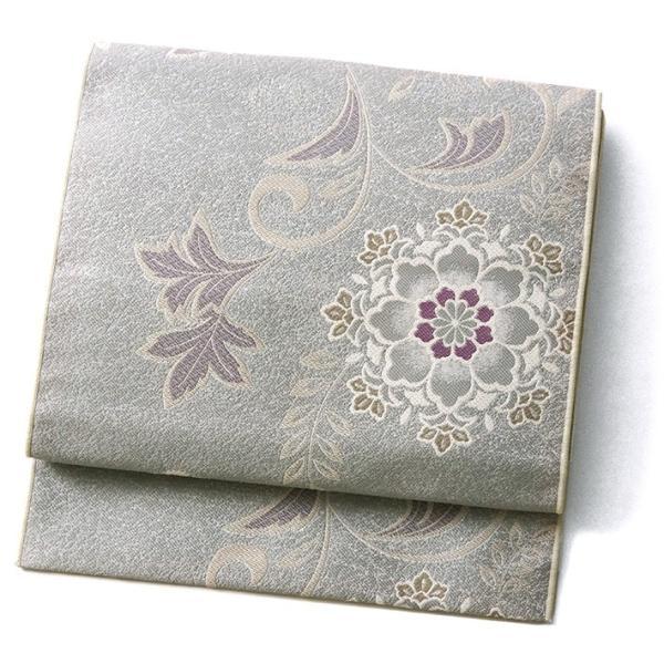 名古屋帯 輝雪華 グレー 灰 銀 紫 花 植物 着物 お太鼓 仕立て上がり 全通柄|kimono-dearjapan|11
