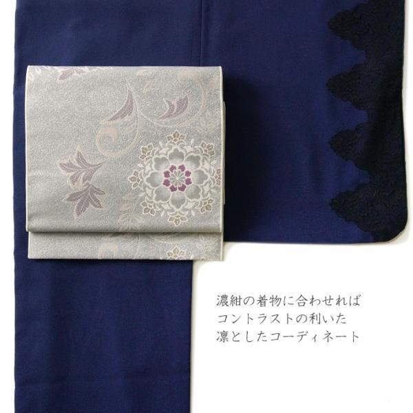 名古屋帯 輝雪華 グレー 灰 銀 紫 花 植物 着物 お太鼓 仕立て上がり 全通柄|kimono-dearjapan|09