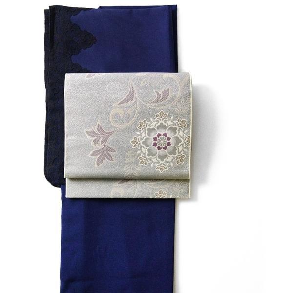 名古屋帯 輝雪華 グレー 灰 銀 紫 花 植物 着物 お太鼓 仕立て上がり 全通柄|kimono-dearjapan|10
