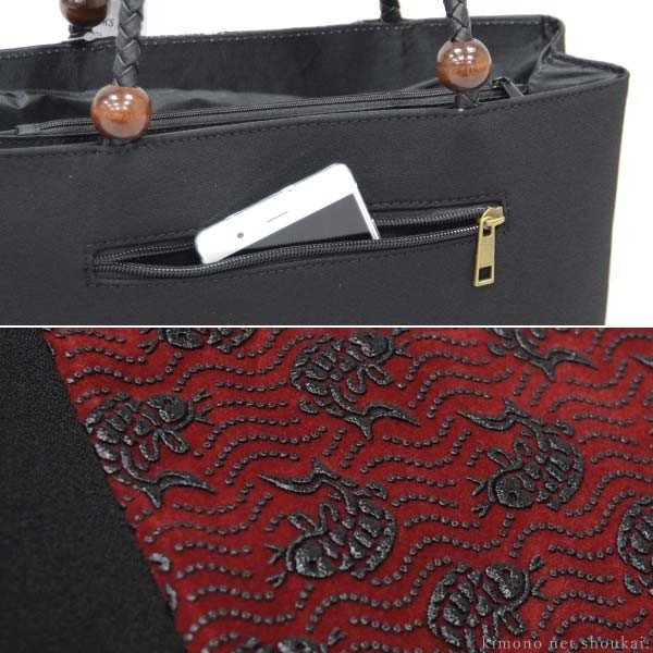和装バッグ【印伝調 和柄バッグ 14652】手提げ かばん 和装バック サブバッグ kimono-japan 02