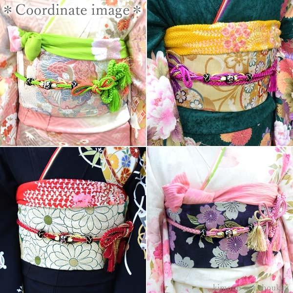 (振袖用 帯締め)桜トンボ玉 手組み紐 伝統和色 13194 古典 サクラ さくら|kimono-japan|16