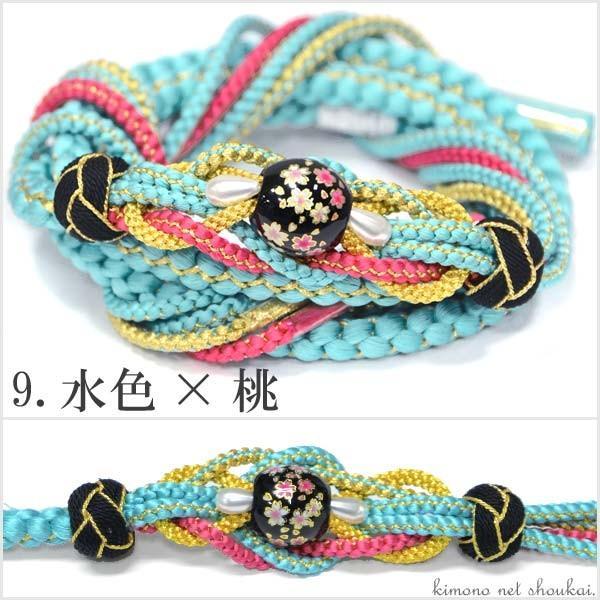(振袖用 帯締め)桜トンボ玉 手組み紐 伝統和色 13194 古典 サクラ さくら|kimono-japan|10