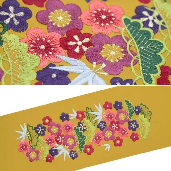 刺繍半襟 刺繍半衿【からし色 芥子色 レトロ松竹梅尽くし 13463】日本製 シルエリー はんえり 振袖 袴 成人式|kimono-japan|02