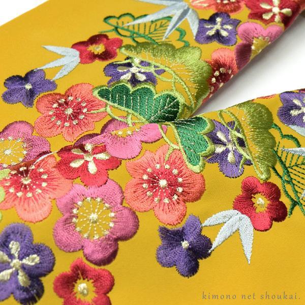 刺繍半襟 刺繍半衿【からし色 芥子色 レトロ松竹梅尽くし 13463】日本製 シルエリー はんえり 振袖 袴 成人式|kimono-japan|03
