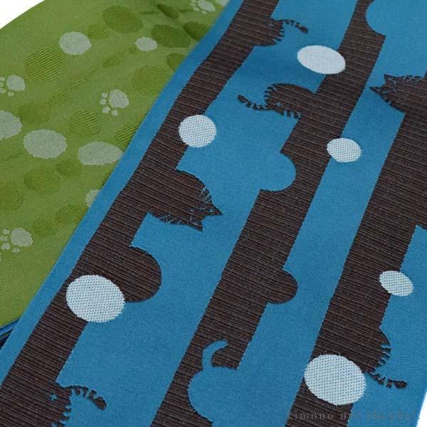 リバーシブル 半巾帯 小袋帯 細帯【黒 モダン菊並び/からし色 小花 10659】日本製 着物 浴衣 ゆかた 半幅帯 洗える カジュアル|kimono-japan|03