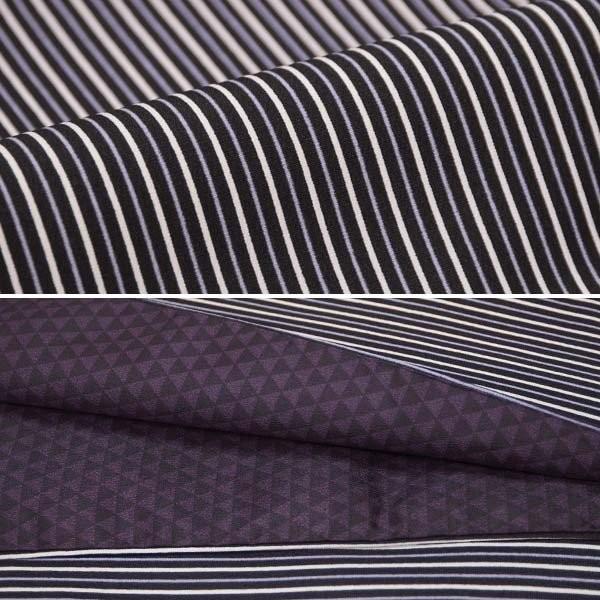 (袷着物セット)洗える 袷着物 4点セット Mサイズ/黒×オフ×青紫 縞/からし 半幅帯/三分紐/帯留め コーディネートセット|kimono-japan|03