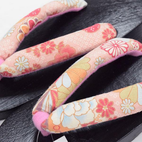 浴衣 下駄 女性用(赤 桜玉/こげ茶色台 13381)フリーサイズ げた レディース kimono-japan 02