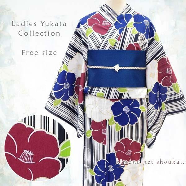 女性浴衣 フリーサイズ【生成り地/ 縞に三色椿 15059】モダン可愛い 単品 ゆかた レディース お仕立上がり|kimono-japan