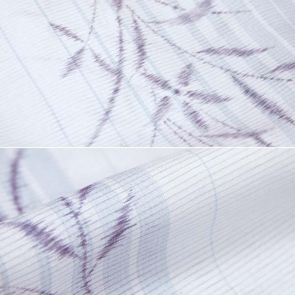 洗える 夏 着物(夏絽/淡い水色 縞に絣花  15675)単品 S/M/L/TLサイズ レディース 小紋 夏物 ポリエステル オリジナル|kimono-japan|02
