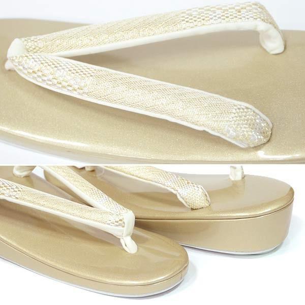 (草履 礼装用 一枚芯) LLサイズ  エナメル小判型 金台 ゴールド/  モダン 15503 単品 留袖 訪問着 フォーマル 結婚式 大き目|kimono-japan|02
