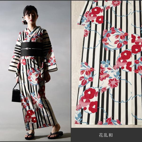 浴衣 セット(浴衣+帯+下駄) 選べる柄 浴衣 レディース浴衣3点セット フリーサイズ レトロ モダン かっこいい 花柄 黒 白 kimono-nishiki 11