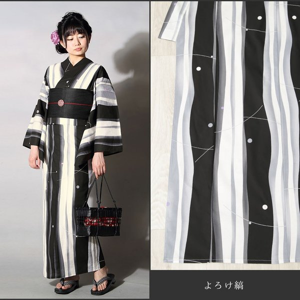 浴衣 セット(浴衣+帯+下駄) 選べる柄 浴衣 レディース浴衣3点セット フリーサイズ レトロ モダン かっこいい 花柄 黒 白 kimono-nishiki 18