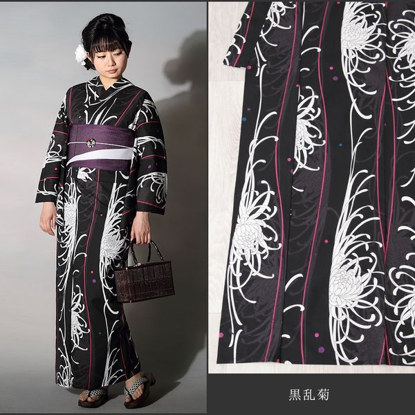 浴衣 セット(浴衣+帯+下駄) 選べる柄 浴衣 レディース浴衣3点セット フリーサイズ レトロ モダン かっこいい 花柄 黒 白 kimono-nishiki 19