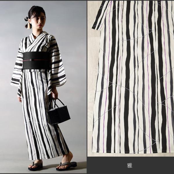 浴衣 セット(浴衣+帯+下駄) 選べる柄 浴衣 レディース浴衣3点セット フリーサイズ レトロ モダン かっこいい 花柄 黒 白 kimono-nishiki 10
