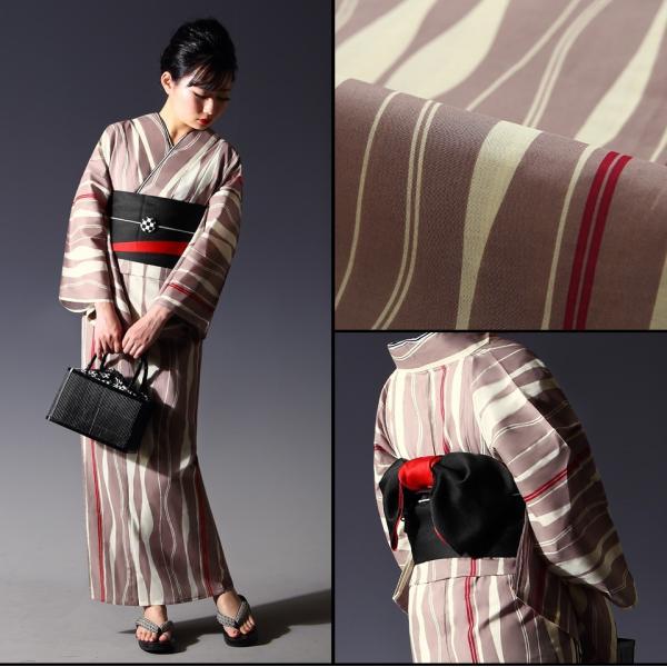 浴衣 セット(浴衣+帯+下駄) 選べる柄 レディース 浴衣3点セット フリーサイズ 鱗 矢絣 縞 ストライプ 赤 黒|kimono-nishiki|11