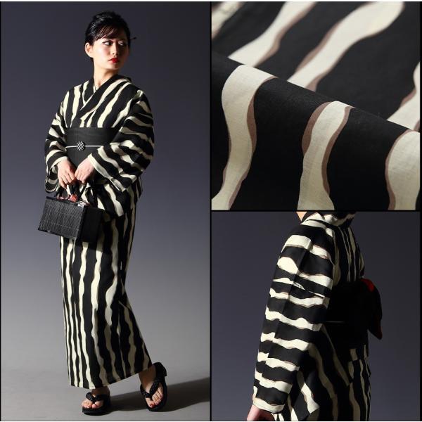浴衣 セット(浴衣+帯+下駄) 選べる柄 レディース 浴衣3点セット フリーサイズ 鱗 矢絣 縞 ストライプ 赤 黒|kimono-nishiki|13
