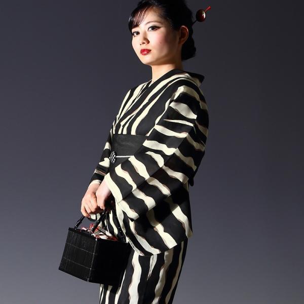 浴衣 セット(浴衣+帯+下駄) 選べる柄 レディース 浴衣3点セット フリーサイズ 鱗 矢絣 縞 ストライプ 赤 黒|kimono-nishiki|14
