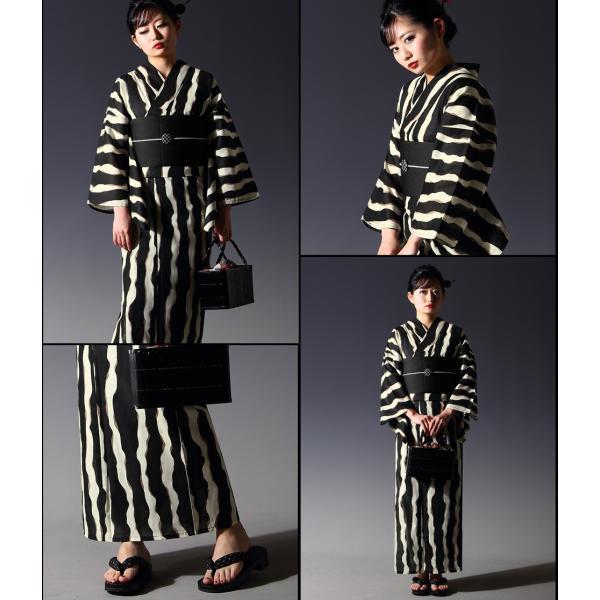 浴衣 セット(浴衣+帯+下駄) 選べる柄 レディース 浴衣3点セット フリーサイズ 鱗 矢絣 縞 ストライプ 赤 黒|kimono-nishiki|15