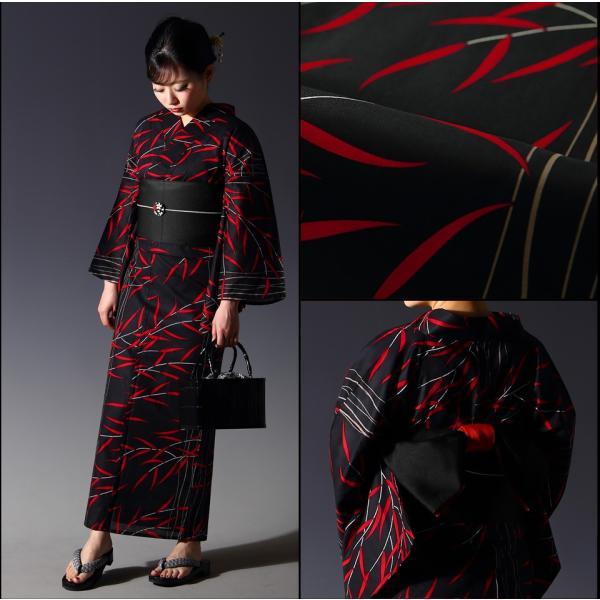浴衣 セット(浴衣+帯+下駄) 選べる柄 レディース 浴衣3点セット フリーサイズ 鱗 矢絣 縞 ストライプ 赤 黒|kimono-nishiki|18