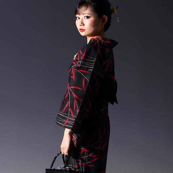 浴衣 セット(浴衣+帯+下駄) 選べる柄 レディース 浴衣3点セット フリーサイズ 鱗 矢絣 縞 ストライプ 赤 黒|kimono-nishiki|19