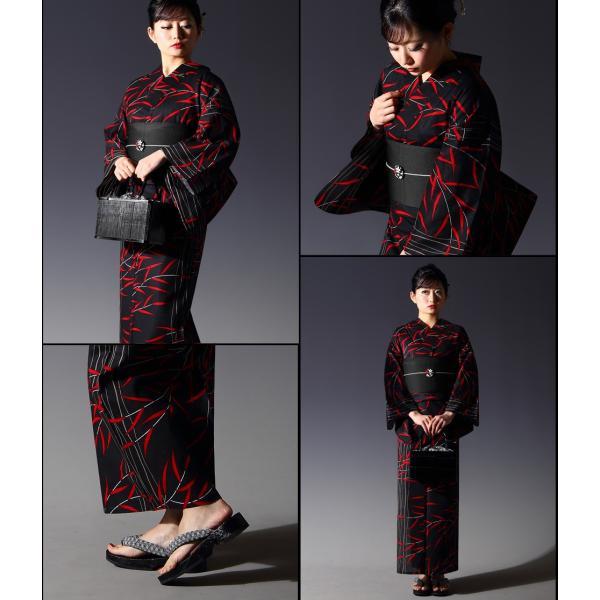 浴衣 セット(浴衣+帯+下駄) 選べる柄 レディース 浴衣3点セット フリーサイズ 鱗 矢絣 縞 ストライプ 赤 黒|kimono-nishiki|20