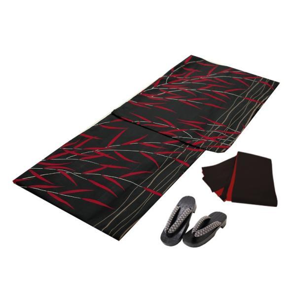 浴衣 セット(浴衣+帯+下駄) 選べる柄 レディース 浴衣3点セット フリーサイズ 鱗 矢絣 縞 ストライプ 赤 黒|kimono-nishiki|21