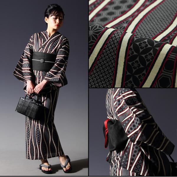 浴衣 セット(浴衣+帯+下駄) 選べる柄 レディース 浴衣3点セット フリーサイズ 鱗 矢絣 縞 ストライプ 赤 黒|kimono-nishiki|05