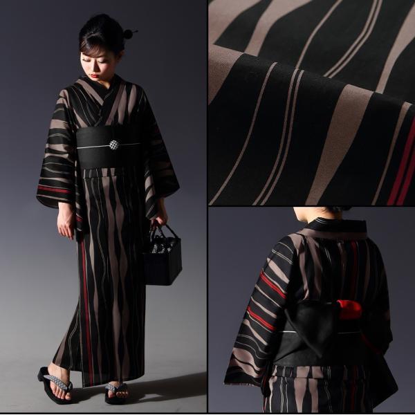 浴衣 セット(浴衣+帯+下駄) 選べる柄 レディース 浴衣3点セット フリーサイズ 鱗 矢絣 縞 ストライプ 赤 黒|kimono-nishiki|07
