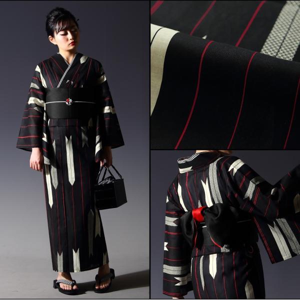 浴衣 セット(浴衣+帯+下駄) 選べる柄 レディース 浴衣3点セット フリーサイズ 鱗 矢絣 縞 ストライプ 赤 黒|kimono-nishiki|09