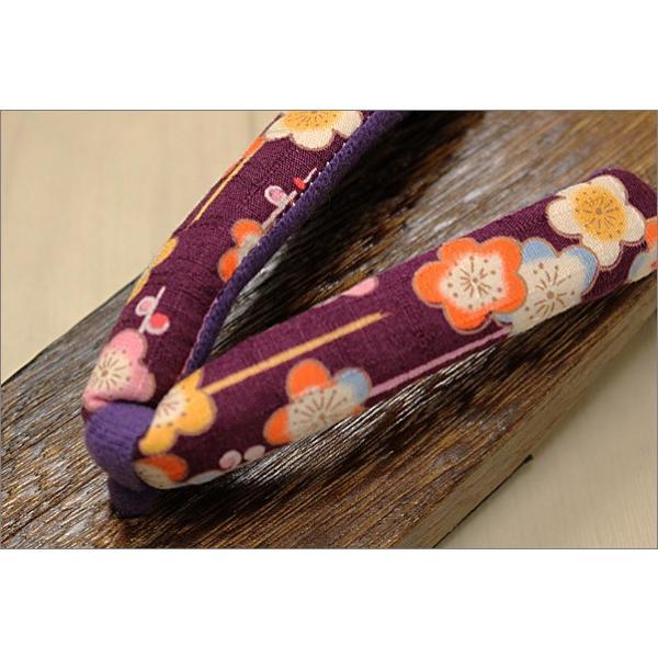 下駄 レディース 女性 Lフリーサイズ T-16-15.紫色系地に花柄の鼻緒 kimono-waku 02