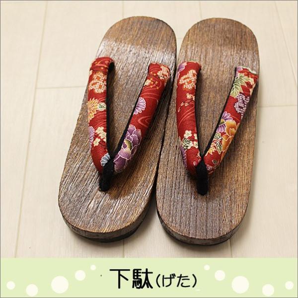 下駄 レディース 女性 Lフリーサイズ T-16-28.赤色系地に華柄の鼻緒|kimono-waku