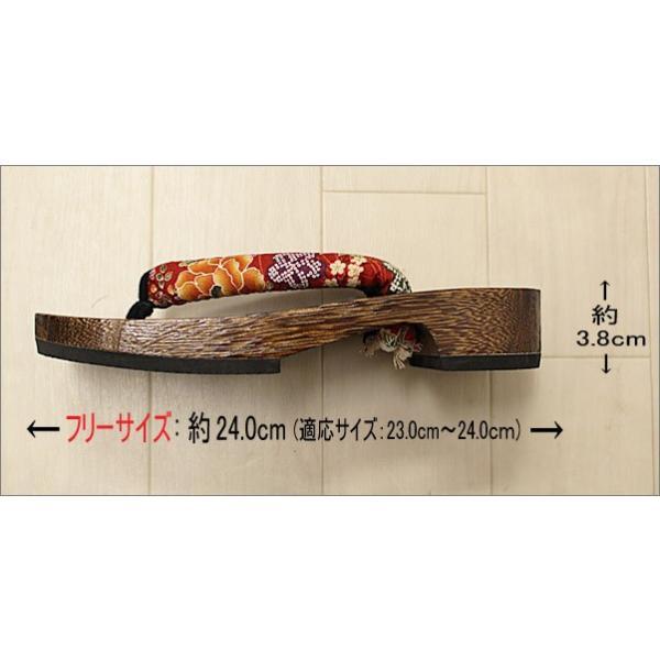 下駄 レディース 女性 Lフリーサイズ T-16-28.赤色系地に華柄の鼻緒|kimono-waku|03
