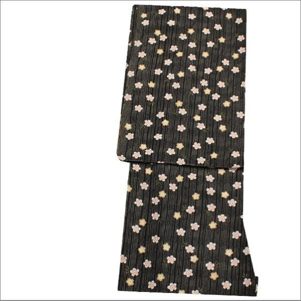 洗える着物セット 単衣着物4点セット Lサイズ  黒色地に桜柄の着物と蜂蜜色地に麻の葉と七宝柄の帯