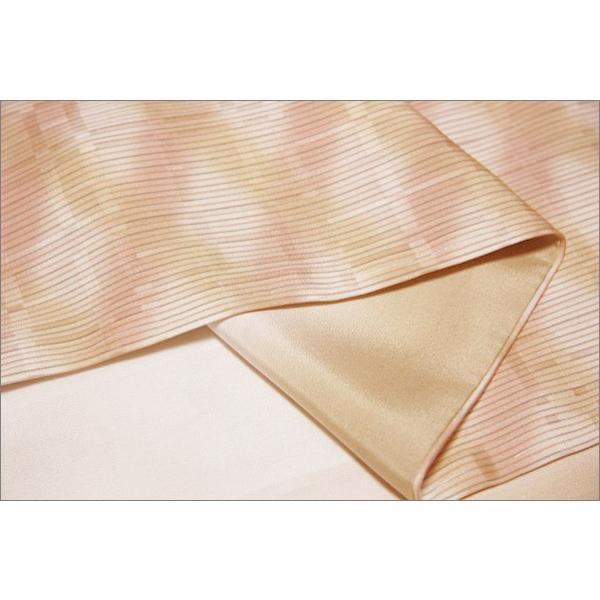 正絹 着物 仕立て上がり(袷・小紋) 17-1.暖色系ぼかし地にななめ格子柄・Lサイズ相当|kimono-waku|03