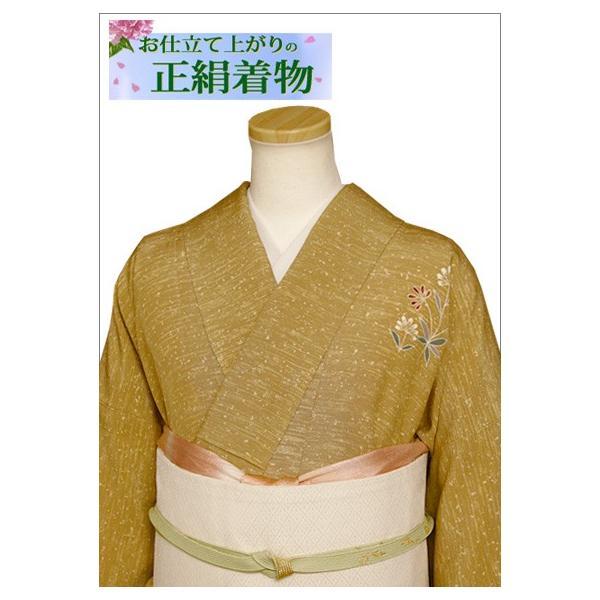 正絹 着物 仕立て上がり(袷・付け下げ訪問着) 17-2.山吹茶地に花柄・Lサイズ相当|kimono-waku