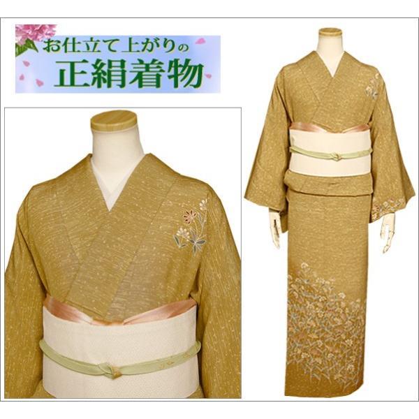 正絹 着物 仕立て上がり(袷・付け下げ訪問着) 17-2.山吹茶地に花柄・Lサイズ相当|kimono-waku|02