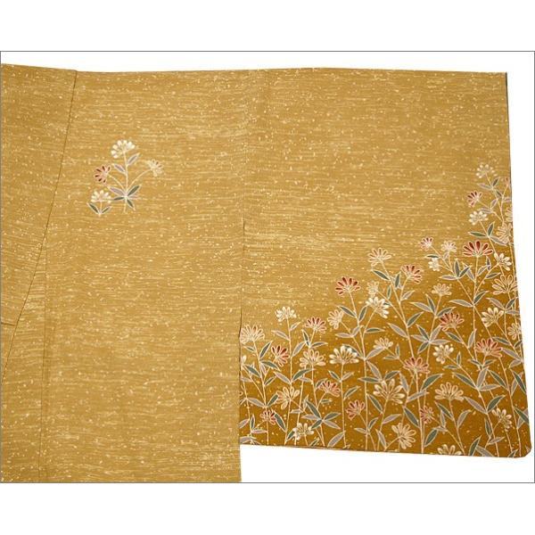 正絹 着物 仕立て上がり(袷・付け下げ訪問着) 17-2.山吹茶地に花柄・Lサイズ相当|kimono-waku|03