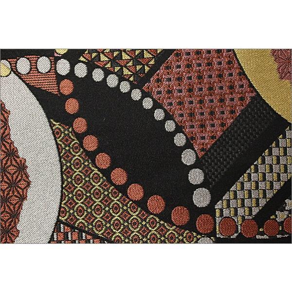 京袋帯(ポリエステル)T-16-56.黒色地に幾何学柄 一重太鼓用